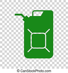 Jerrycan oil sign. Jerry can oil sign. Dark green icon on...
