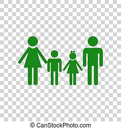 Family sign. Dark green icon on transparent background.