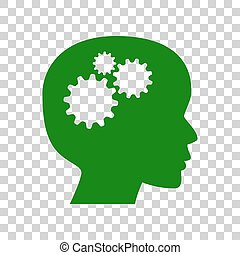 Thinking head sign. Dark green icon on transparent background.