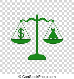 Dress and dollar symbol on scales. Dark green icon on transparent background.