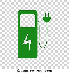 Electric car charging station sign. Dark green icon on...