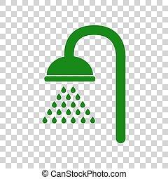 Shower sign. Dark green icon on transparent background.