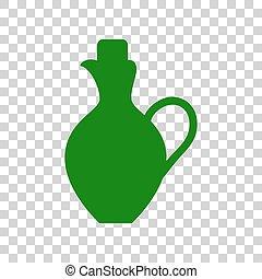 Amphora sign illustration. Dark green icon on transparent...