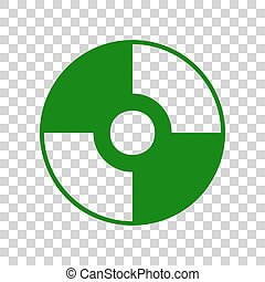 Vector CD or DVD sign. Dark green icon on transparent...