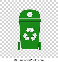Trashcan sign illustration. Dark green icon on transparent background.