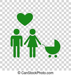 Family symbol with pram and heart. Husband and wife are kept each other`s hands. Love. Dark green icon on transparent background.