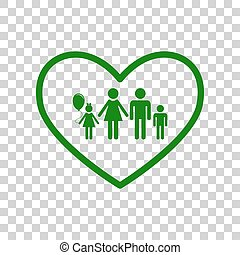 Family sign illustration in heart shape. Dark green icon on...