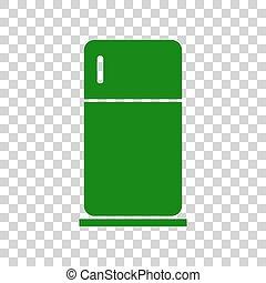Refrigerator sign illustration. Dark green icon on...