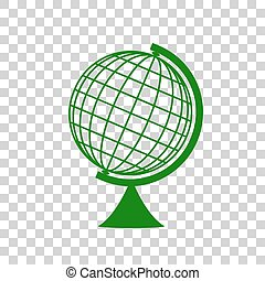 Earth Globe sign. Dark green icon on transparent background.