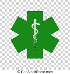 Medical symbol of the Emergency or Star of Life. Dark green...