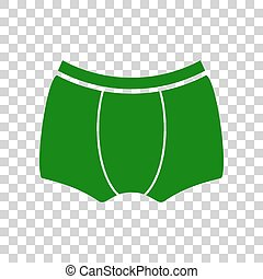 Man`s underwear sign. Dark green icon on transparent background.