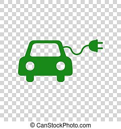 Eco electric car sign. Dark green icon on transparent...