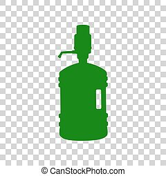 Plastic bottle silhouette with water and siphon. Dark green icon on transparent background.