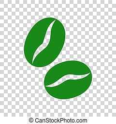 Coffee beans sign. Dark green icon on transparent...