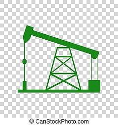 Oil drilling rig sign. Dark green icon on transparent...