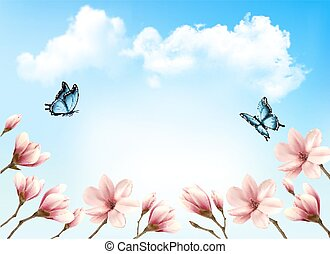 Nature spring background with beautiful magnolia branches on blue sky. Vector.
