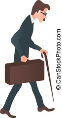 Cartoon character business man in a suit with a suitcase and a cane