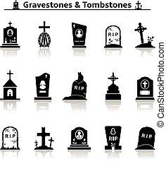 Gravestones and tombstones icons