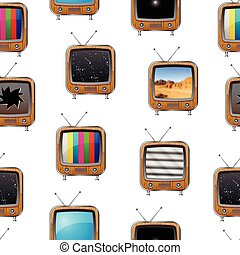 Seamless pattern with retro television sets