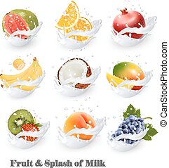 Big collection icons of fruit in a milk splash. Guava,...