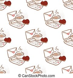 February 14, Valentines Day Breakfast seamless pattern. Cup...