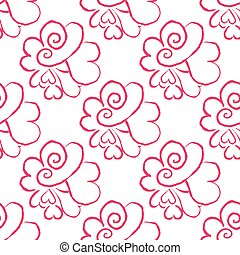 February 14, Valentines Day seamless pattern. Hand drawn...