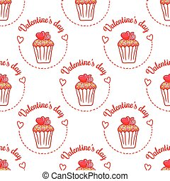 February 14, Valentines Day Breakfast seamless pattern....