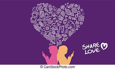 Social media share love lesbian concept design