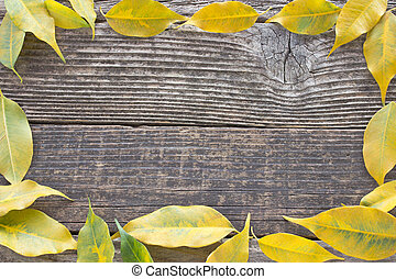 Yellow autumn leaves frame on wooden background