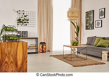 Living room with comfortable sofa and wooden furniture