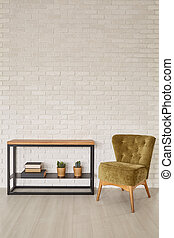 Minimalistic rack and armchair in room interior