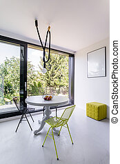 Bright dining room with panoramic window - Very bright...