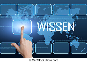 Wissen - german word for knowledge concept with interface...