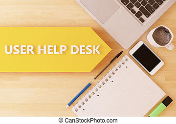 User Help Desk - linear text arrow concept with notebook,...
