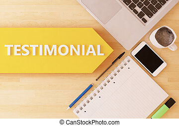 Testimonial - linear text arrow concept with notebook,...