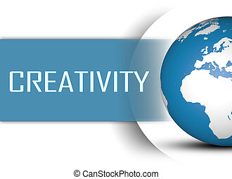 Creativity concept with globe on white background