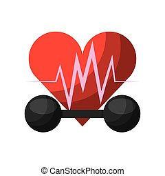 cardio heart icon - dumbbell and cardio heart icon over...