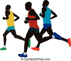 leading group runners athletes running marathon vector...