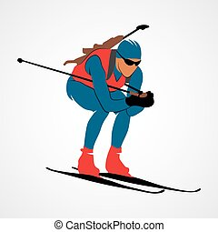 Biathlon Abstract sport - Abstract biathlete on a white...