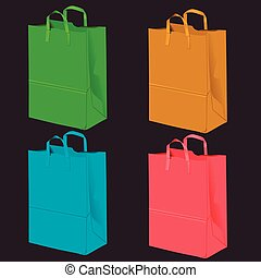 Gift bags for purchases on a dark background