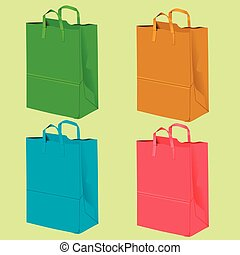 Gift bags for purchases on a yellow background