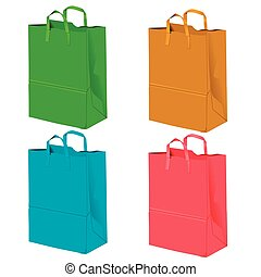 Gift bags for purchases on a white background