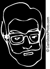 vector sketch of the face of an adult male with a beard wearing glasses