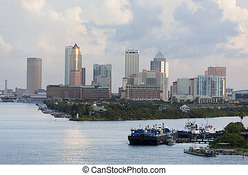 Morning In Tampa - The view of Harbour Island with Tampa...