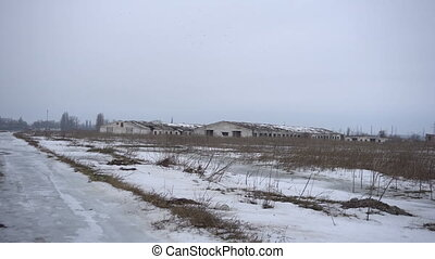 Farm from far away in winter - The destruction of the farm...