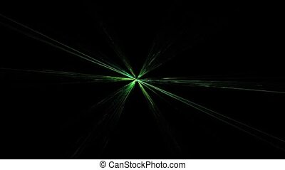 Abstract Rotating Twinkling Green Star on Black