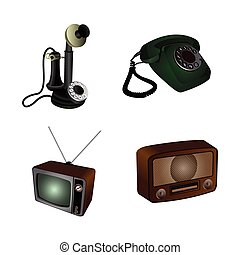 Set of hipster objects