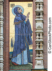 mosaic on the outside of the Church of the Savior on Blood
