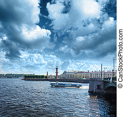 Busy traffic of boats on the Neva against the background of...