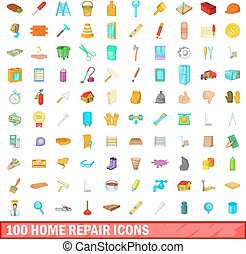 100 home repair icons set, cartoon style
